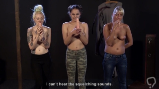 Stupid slaves practice blowjob on dildos