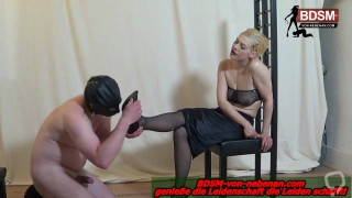 Homemade german session with slave with foot fetish and blond domina femdom