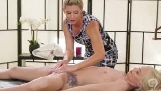 Elsa have scissor sex with MILF Inda after massage session
