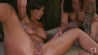 Mix of lesbians in anal fisting actions