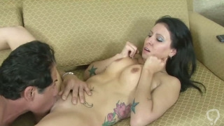 Natural tits brunette Kayla Jade sucking and banging a monster cock