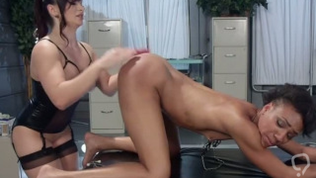 Ebony doctor spanked and fucked