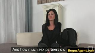 Cocksucking amateur masturbates at casting