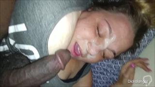 BBW White Slut Gets Huge Creamy Cum Facial