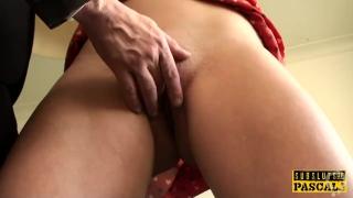 Inked british slut toys cunt after cockriding