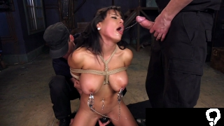 Huge tits Latina tied up threesome banged